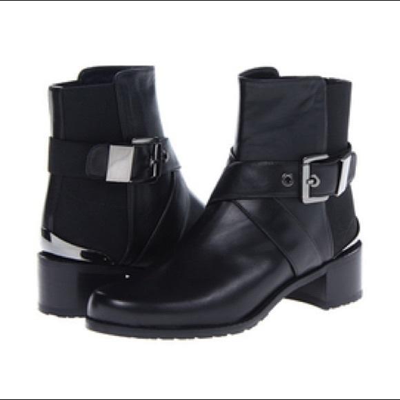 Stuart Weizmann Manlow Buckle Ankle Boots Black